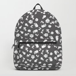 The Little Farm Animals, white on grey Backpack