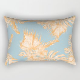 Hawaiian Hibiscus Palm Deep Orange Sky Blue Rectangular Pillow