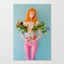 esmee as me with flowers Canvas Print