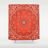 tupac Shower Curtains featuring red bandana by Marta Olga Klara