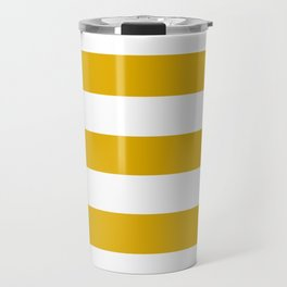 Mustard yellow - solid color - white stripes pattern Travel Mug
