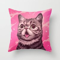 lil bub Throw Pillows featuring Fantasy in BUB Minor by Noelle McClanahan