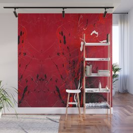 Rising - Black and red abstract splash painting by Rasko Wall Mural