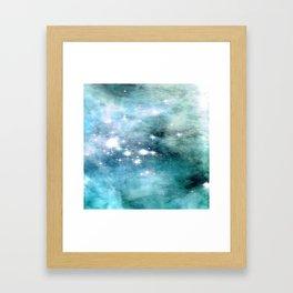 nEbulA Aqua Teal Sparkle Framed Art Print