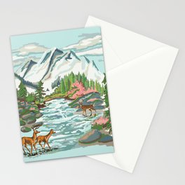 Paint by Number Mountain Medow Stationery Cards