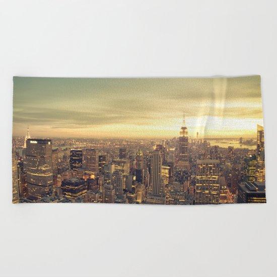New York Skyline Cityscape Beach Towel