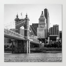 Classic Cincinnati Skyline - Black and White Square Format Canvas Print
