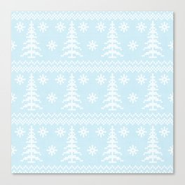 Stitched Evergreens in Icy Blue Canvas Print