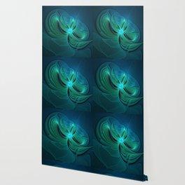Blue Fantasy, Modern Abstract Fractal Art Wallpaper