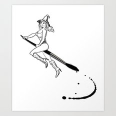broom and brush witchcraft Art Print