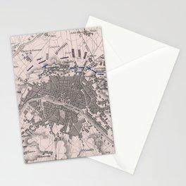 Vintage Battle of Paris Map (1814) Stationery Cards