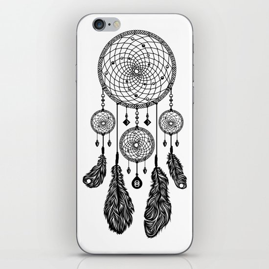 Dreamcatcher (Black & White) iPhone & iPod Skin