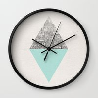 shapes Wall Clocks featuring Diamond by David Fleck
