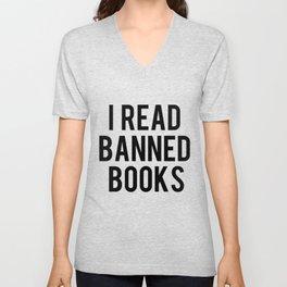 I Read Banned Books - Red B/G Unisex V-Neck