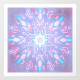 Purple, Teal, White Aura Mandala Art Print