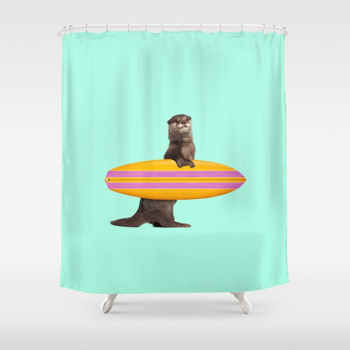 SURFING OTTER Shower Curtain