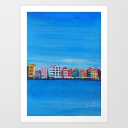 Willemstad Curacao Waterfront in Blue Art Print