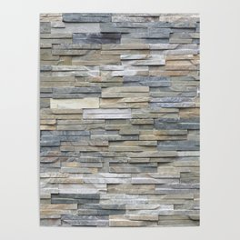 Gray Slate Stone Brick Texture Faux Wall Poster