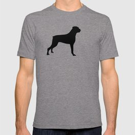 Boxer dog breed pattern dog gifts black and white minimal dog silhouette T-shirt