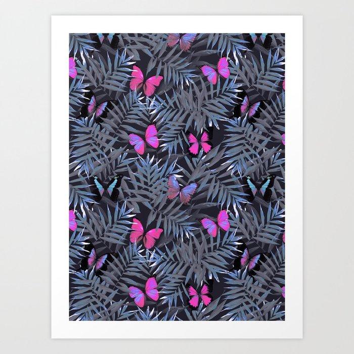 Butterflies Night Dance Art Print by cafelab