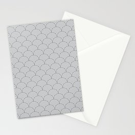 Grey Concentric Circle Pattern Stationery Cards