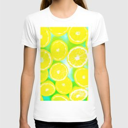 juicy yellow lemon pattern abstract with green background T-shirt