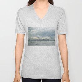 Cloudy New York Harbor Unisex V-Neck