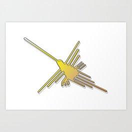 Nazca Lines Hummingbird Art Print