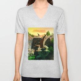 Fantasy Worlds 3D Dinosaur 2 Unisex V-Neck