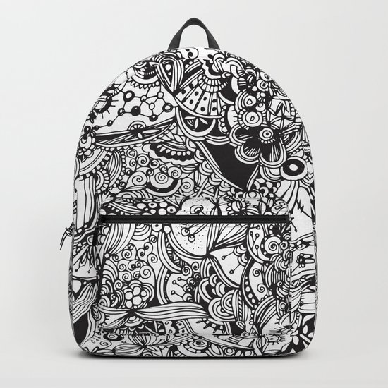 Detailed rectangle, black and white Backpack