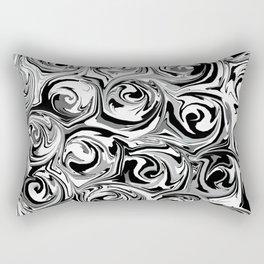 Onyx Black and White Paint Swirls Rectangular Pillow