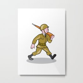 World War Two Soldier American Cartoon Isolated Metal Print