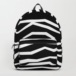Wavy zig zag lines edgy black and white Backpack
