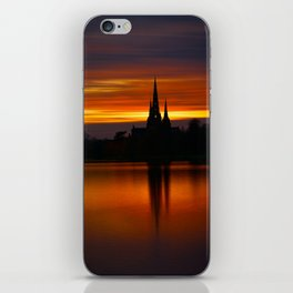 Fiery Sunset Reflection At The The Lichfield Cathedral iPhone Skin