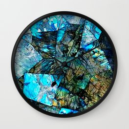 Blue & Green Iridescent Mineral Surface Wall Clock