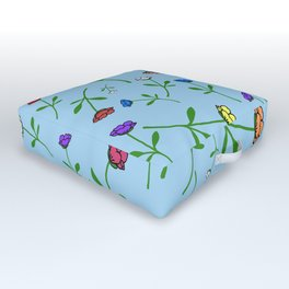 Colorful Flower Toss Outdoor Floor Cushion