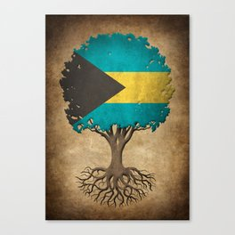 Vintage Tree of Life with Flag of Bahamas Canvas Print