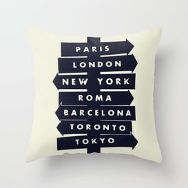 City signpost world destinations Throw Pillow