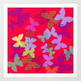 Striped, Plaid and Colorful Butteflies ZFF Art Print