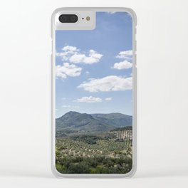 Mountains and Olive Trees Clear iPhone Case