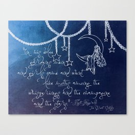 Blue Gardens and Stars Quote Canvas Print