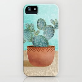 Potted Cactus // House Plant Lovers // Terra-cotta and Aqua iPhone Case