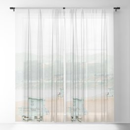 Travel photography Santa Monica II Sheer Curtain
