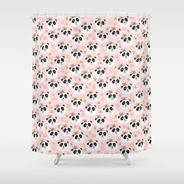 Panda bear with flowers seamless pattern Shower Curtain