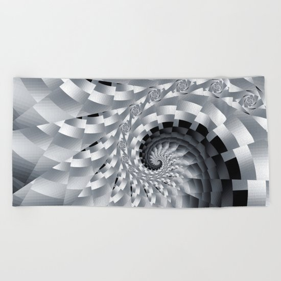 Bladed Black and White Spiral Beach Towel