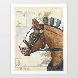 Bay Clydesdale on Vintage Map Art Print