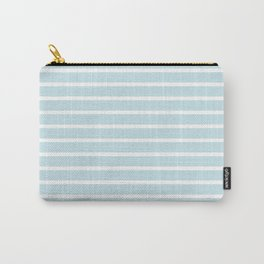 Baby Blue and White Horizontal Stripes Pattern Carry-All Pouch