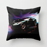 ferrari Throw Pillows featuring New Ferrari by JT Digital Art