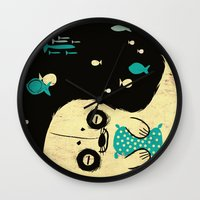 seal Wall Clocks featuring Panda Seal by Pigologist