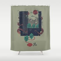 lovecraft Shower Curtains featuring A World Within by Hector Mansilla